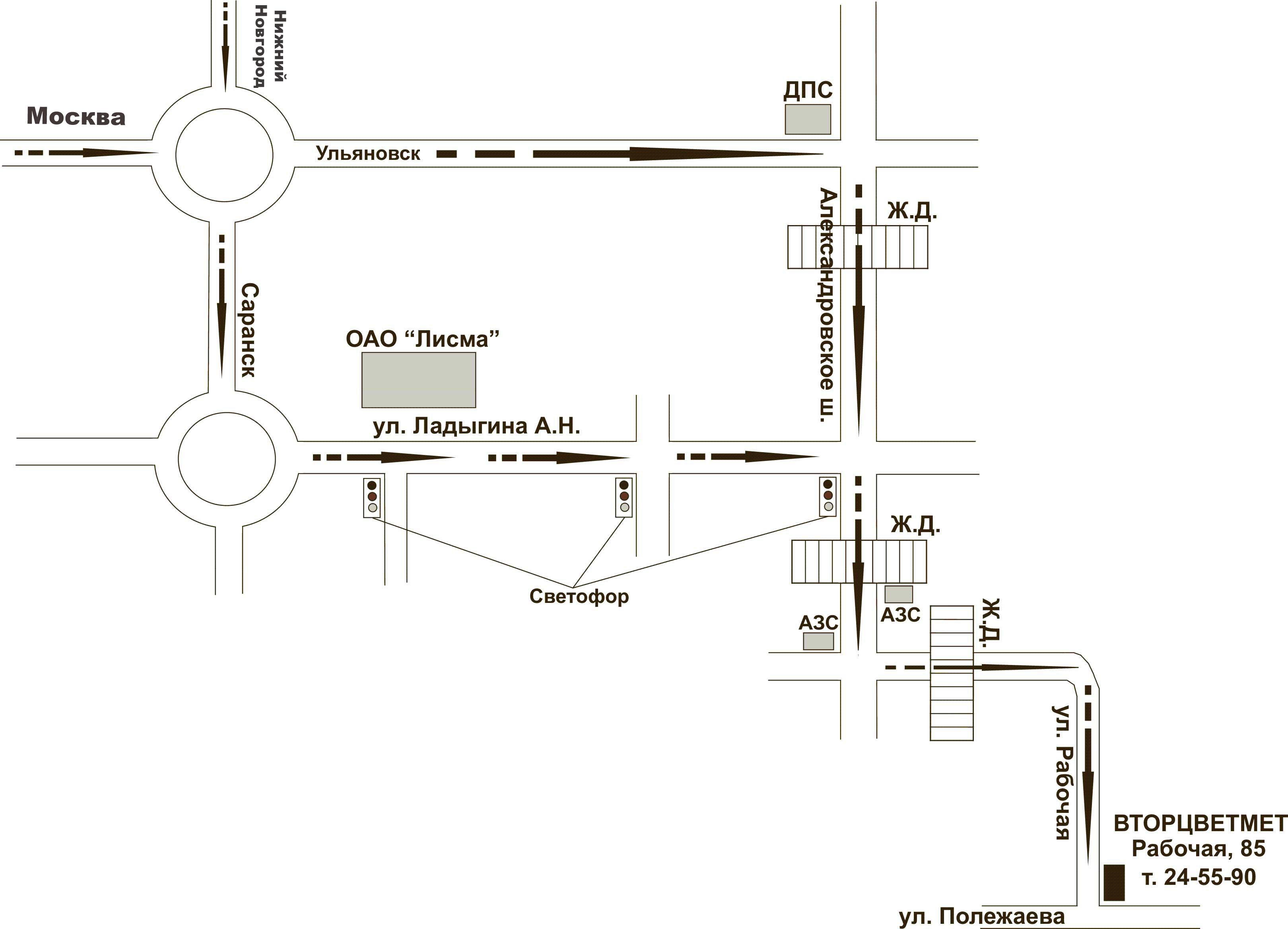 Схемы проезда в саранске